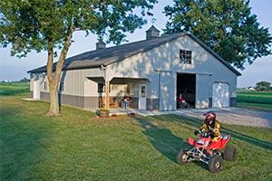 Hobby Shop with 4 Wheeler, Pole Barn Kits, FBi Buildings