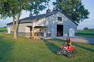 Pole Barn Garage with ATV