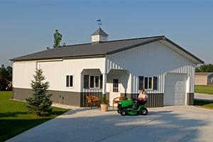 Pole Barn Hobby Shop and Lawnmower