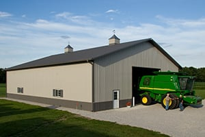 Pole Barn With Tractor