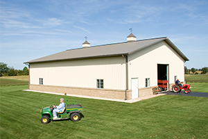 Pole Barn with Lawnmower