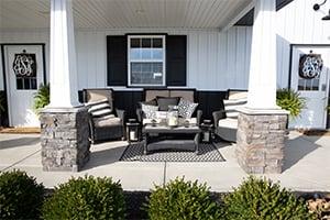 Porch Seating, FBi Buildings, Pole Barn Renovation